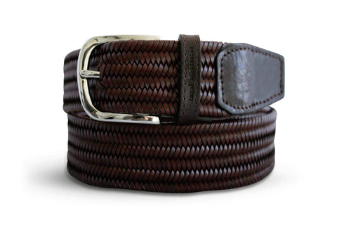 Men's Woven Leather Belt | Easy Fit Brown Webbing | Royal Albartross The Beaumont Chestnut M-B-PWV-BM-CN-L