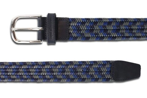 Men's Woven Leather Belt | Grey/Blue Golf Webbing | Royal Albartross The Beaumont Grey Sky