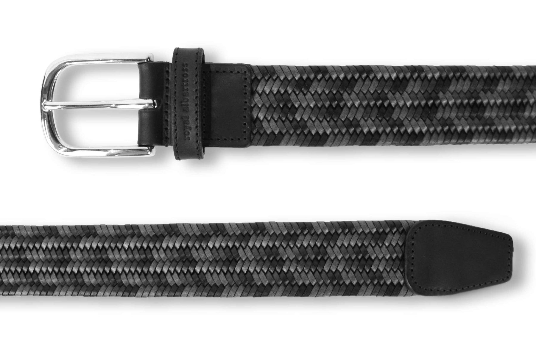 Men's Woven Leather Belt | Grey/Black Golf Webbing | Royal Albartross The Beaumont Graphite