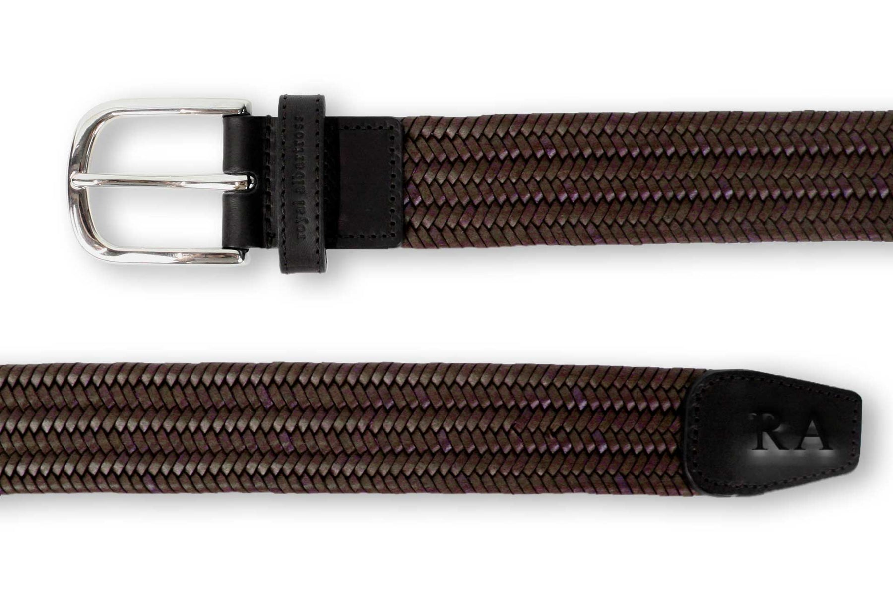 Men's Woven Leather Belt | Easy Fit Brown Webbing | Royal Albartross The Beaumont Chestnut