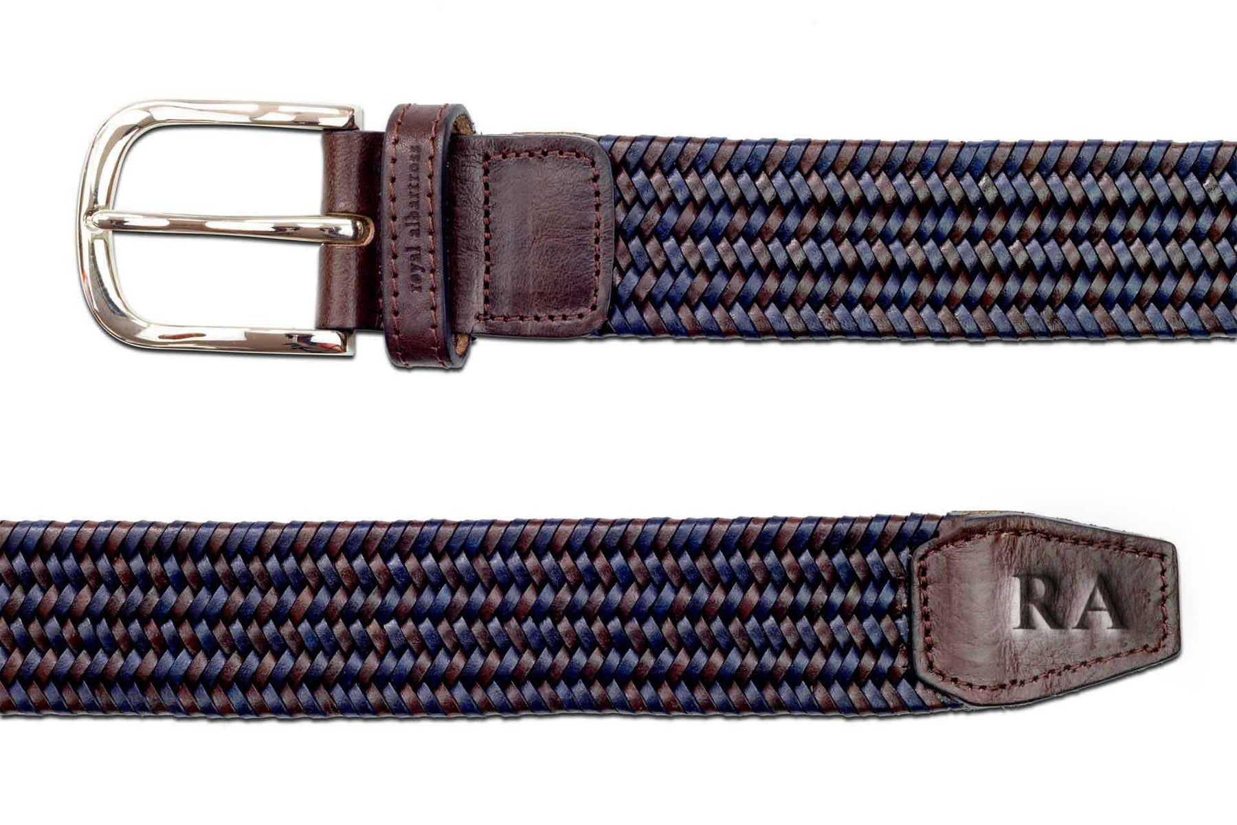 Men's Woven Leather Belt | Brown/Blue Golf Webbing | Royal Albartross The Beaumont Midnight Brown