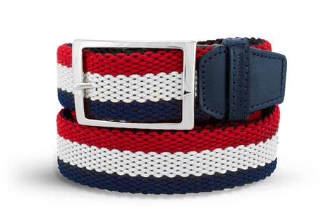 Men's Reversible Woven Belt | Red, White & Blue | Royal Albartross The Ryder Red M-B-PWV-RY-RD-M
