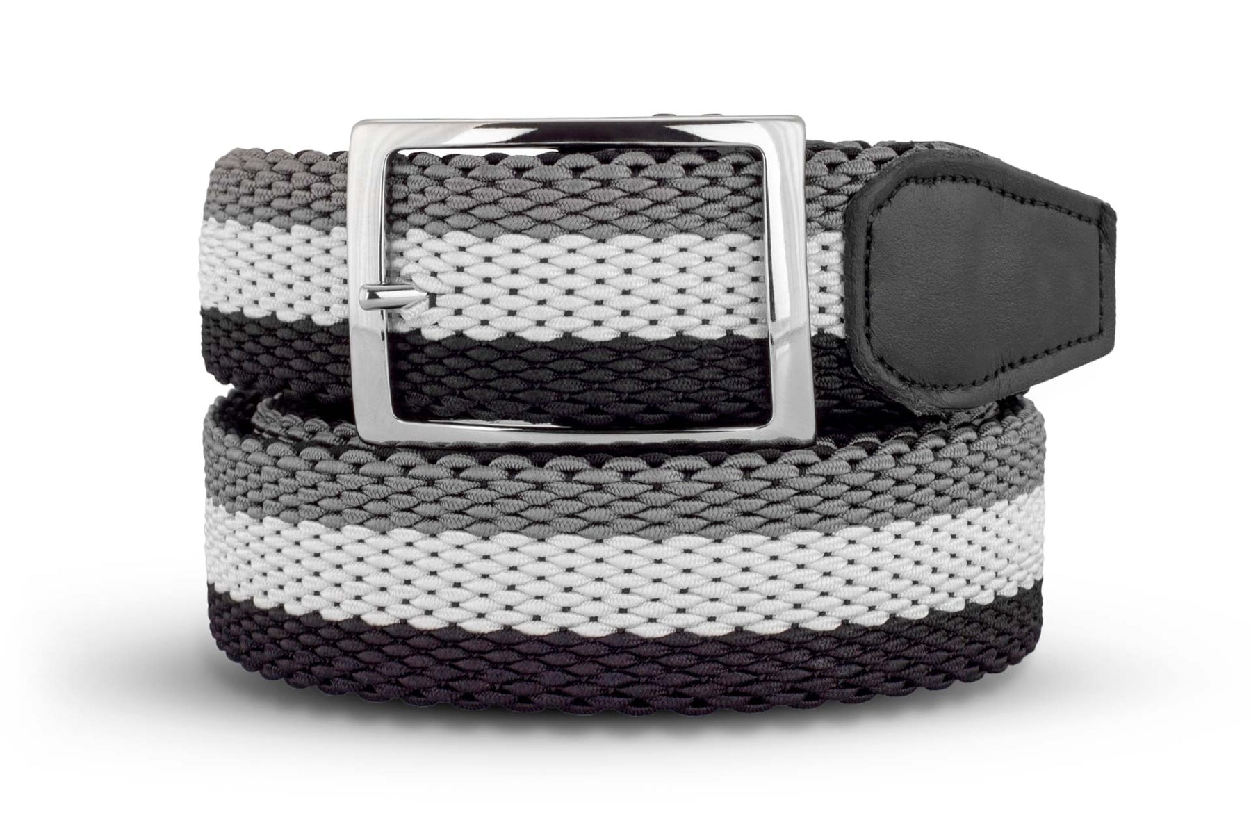 Men's Reversible Woven Belt | Black, White & Grey | Royal Albartross The Ryder Black M-B-PWV-RY-BK-S