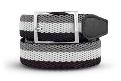 Men's Reversible Woven Belt | Black, White & Grey | Royal Albartross The Ryder Black M-B-PWV-RY-BK-S Thumbnail