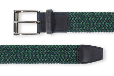 Men's Woven Golf Belt | Easy Fit & Stylish - Green | Royal Albartross The Balzo Green/Navy