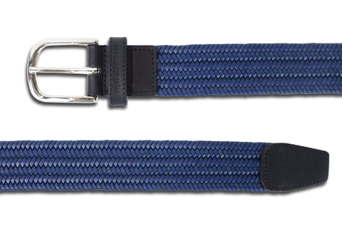 Men's Woven Leather Belt | Easy Fit Blue Webbing | Royal Albartross The Beaumont Blue