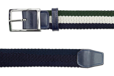 Men's Reversible Woven Belt | Green, White, Blue | Royal Albartross The Ryder Green