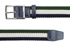 Men's Reversible Woven Belt | Green, White, Blue | Royal Albartross The Ryder Green Thumbnail