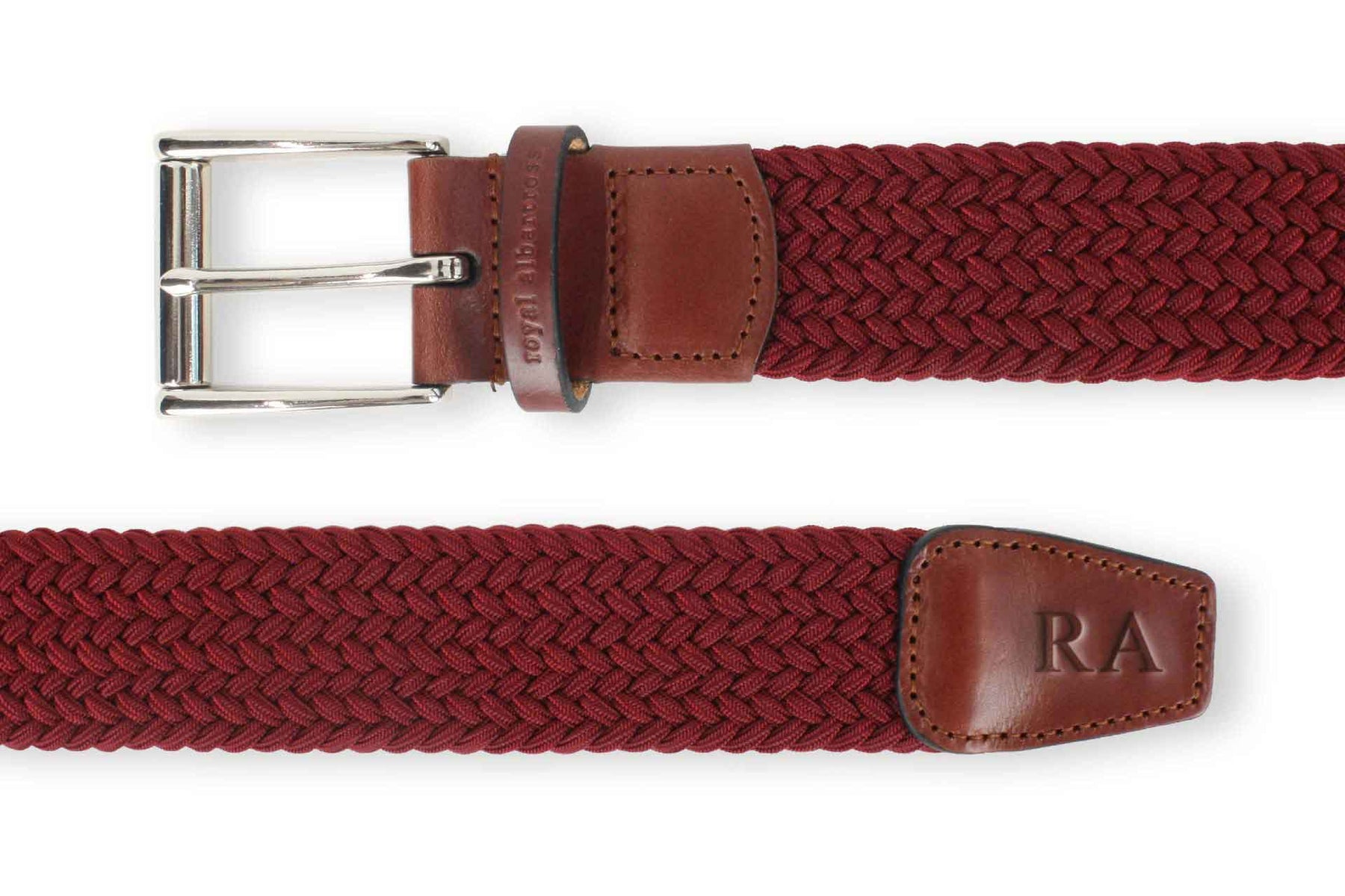 Men's Woven Golf Belt | Easy Fit & Stylish - Red | Royal Albartross The Balzo Claret