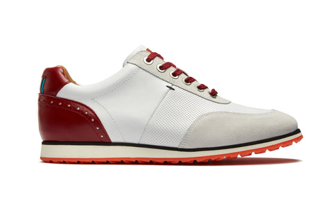 Men's Hybrid Golf Shoe | Comfort & Style - White | Royal Albartross The Driver Red M-S-HYB-DR-RD-UK08-US09