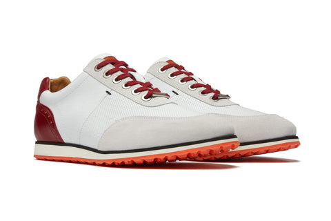 Men's Hybrid Golf Shoe | Comfort & Style - White | Royal Albartross The Driver Red