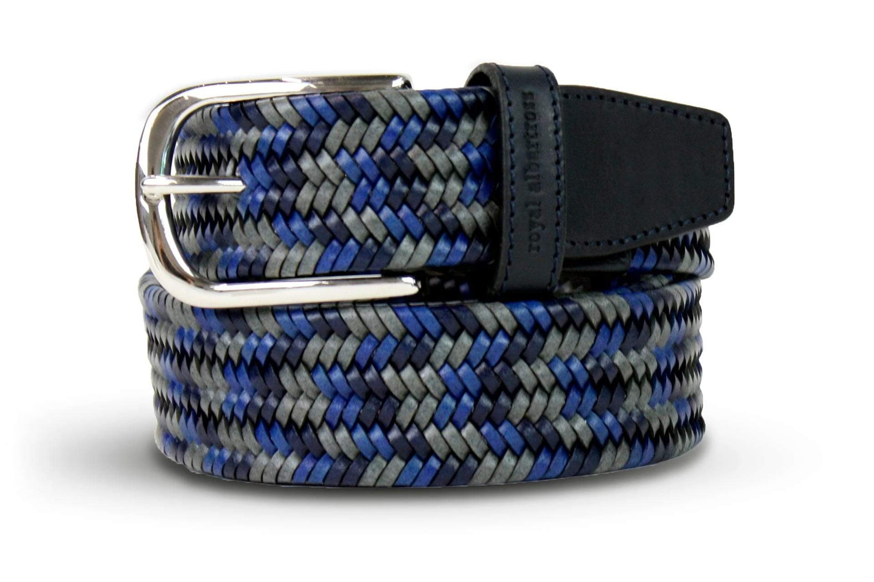 Men's Woven Leather Belt | Grey/Blue Golf Webbing | Royal Albartross The Beaumont Grey Sky M-B-PWV-BM-GS-S