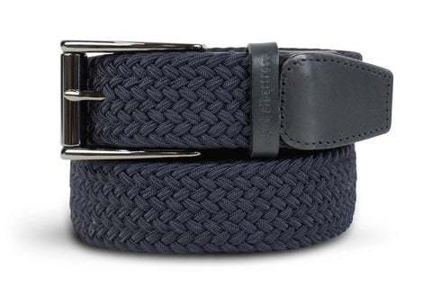 Men's Woven Belt | Easy Fit Navy Golf Webbing | Royal Albartross The Balzo Navy M-B-BWV-BZ-NY-S
