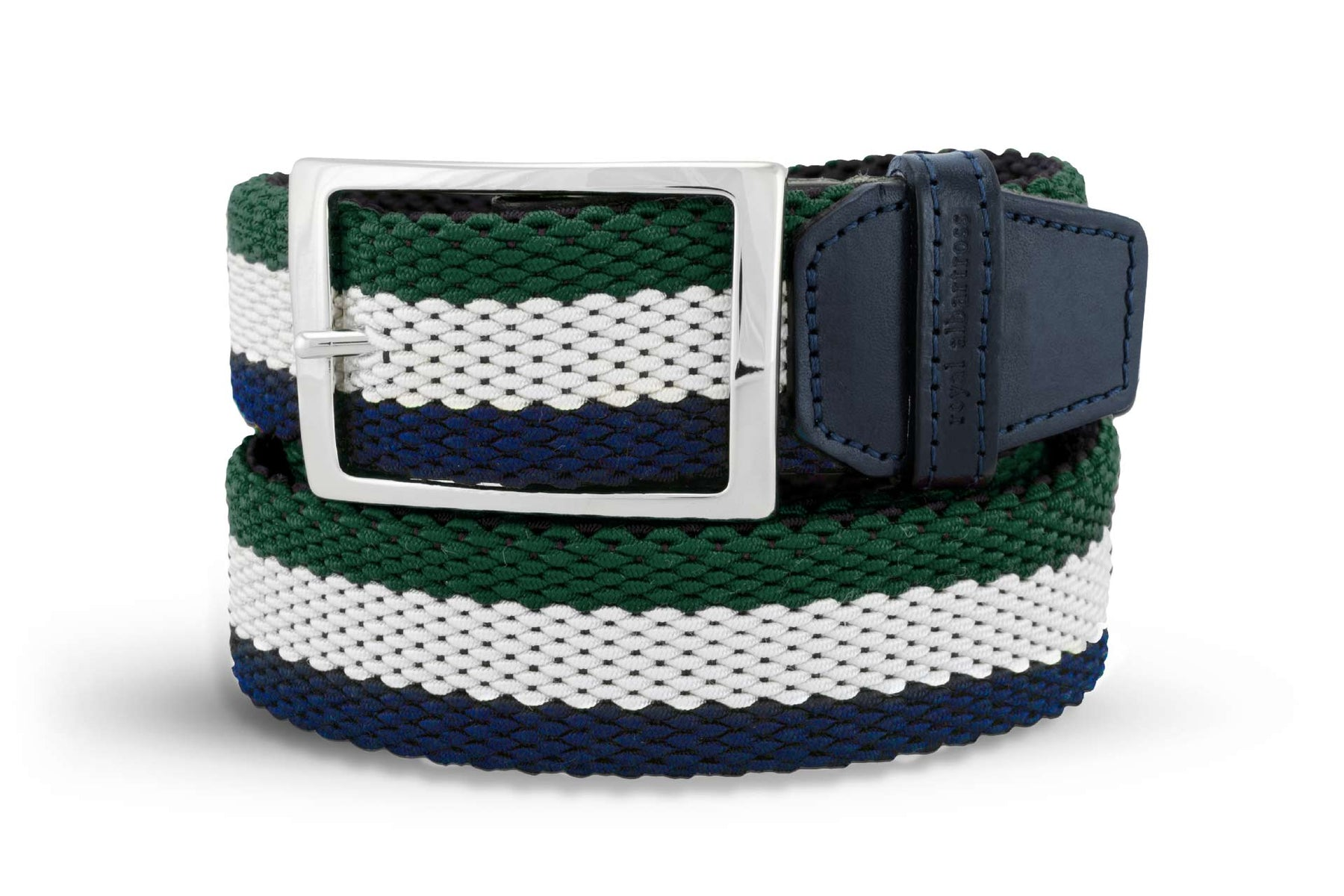 Men's Reversible Woven Belt | Green, White, Blue | Royal Albartross The Ryder Green M-B-PWV-RY-GR-S