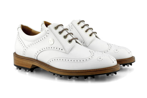 Men's Spiked Golf Shoe | Traditional Cleated White | Royal Albartross The Captain Bianco