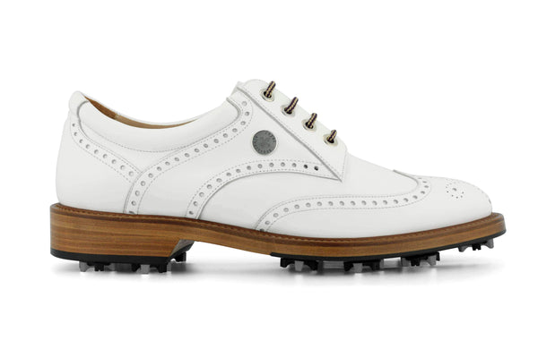 Men's Spiked Golf Shoe | Traditional Cleated White | Royal Albartross The Captain Bianco ML-CPW-UK07-US08