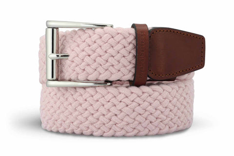 Men's Woven Golf Belt | Easy Fit & Stylish - Pink | Royal Albartross The Balzo Miami M-B-BWV-BZ-MI-S