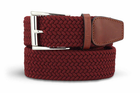 Men's Woven Golf Belt | Easy Fit & Stylish - Red | Royal Albartross The Balzo Claret M-B-BWV-BZ-RD-S
