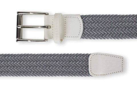 Men's Woven Golf Belt | Easy Fit & Stylish - White | Royal Albartross The Balzo White/Navy