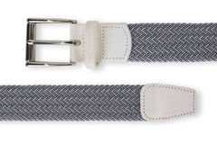 Men's Woven Golf Belt | Easy Fit & Stylish - White | Royal Albartross The Balzo White/Navy Thumbnail