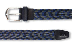 Men's Woven Leather Belt | Grey/Blue Golf Webbing | Royal Albartross The Beaumont Grey Sky Thumbnail