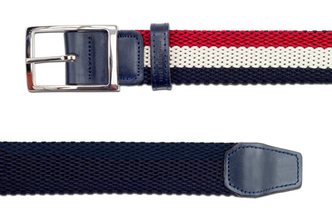 Men's Reversible Woven Belt | Red, White & Blue | Royal Albartross The Ryder Red