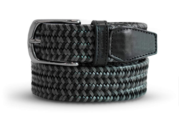 Men's Woven Leather Belt | Grey/Black Golf Webbing | Royal Albartross The Beaumont Graphite M-B-PWV-BM-GP-M