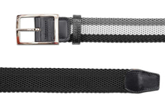 Men's Reversible Woven Belt | Black, White & Grey | Royal Albartross The Ryder Black Thumbnail