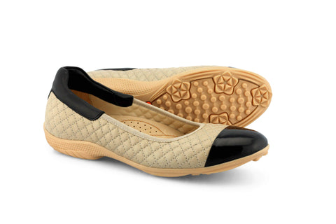 Women's Spikeless Golf Shoe | Casual Beige Slip On  | Royal Albartross Runway Beige