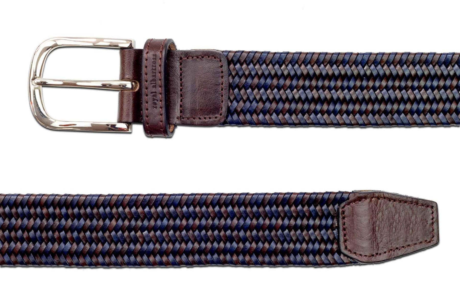 Men's Woven Leather Belt | Brown/Blue Golf Webbing | Royal Albartross The Beaumont Midnight Brown M-B-PWV-BM-MB-L