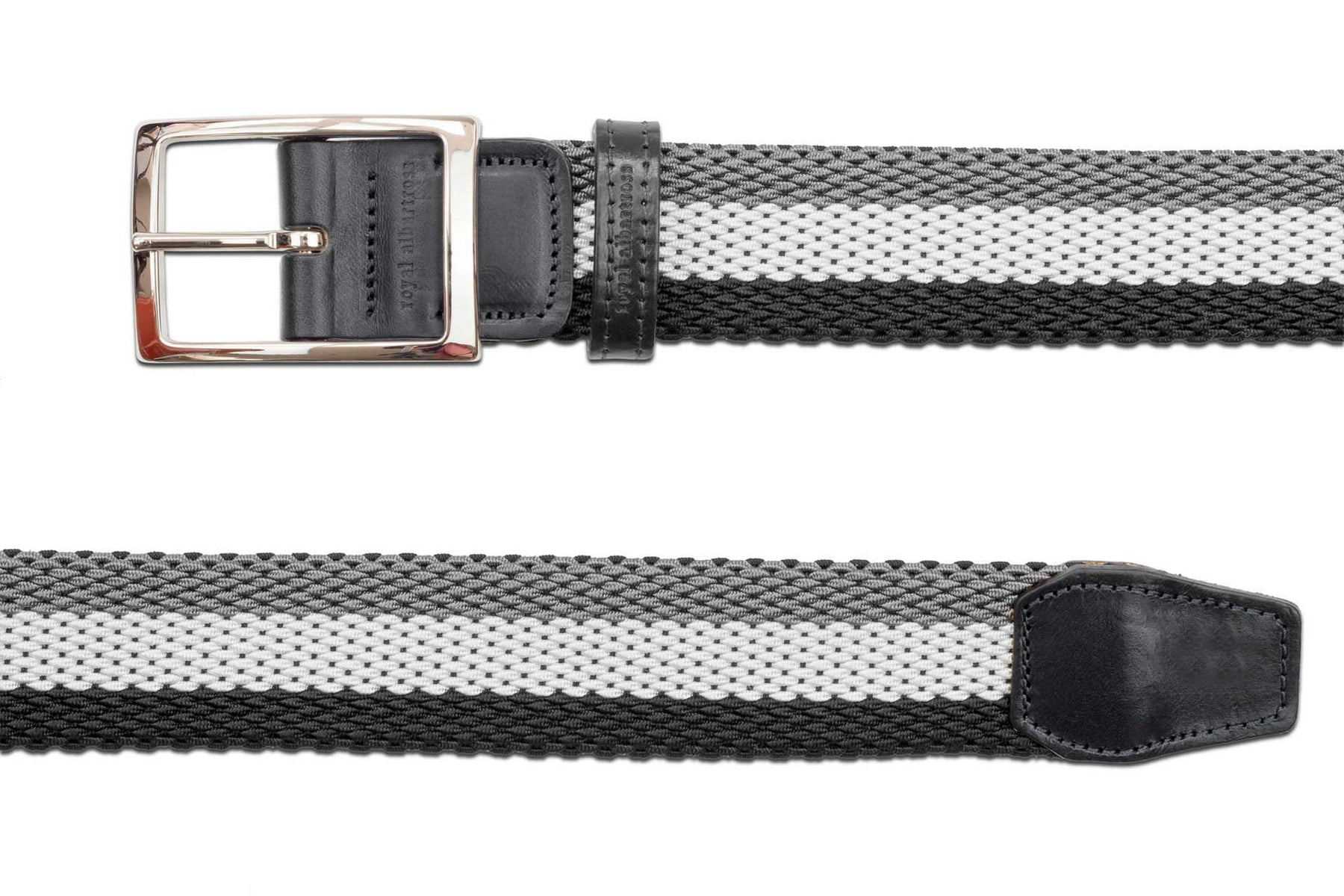 Men's Reversible Woven Belt | Black, White & Grey | Royal Albartross The Ryder Black