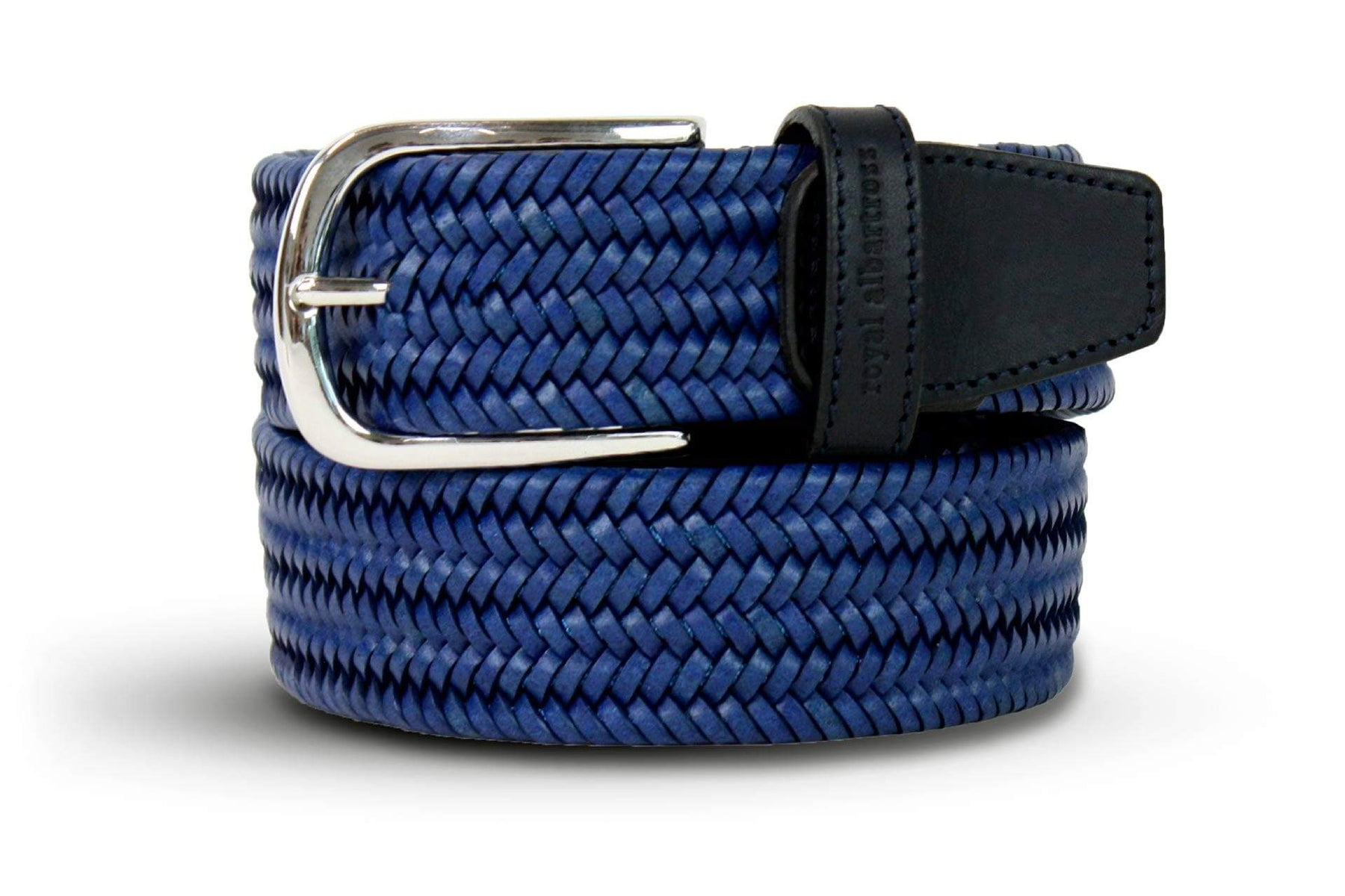 Men's Woven Leather Belt | Easy Fit Blue Webbing | Royal Albartross The Beaumont Blue M-B-PWV-BM-BL-M