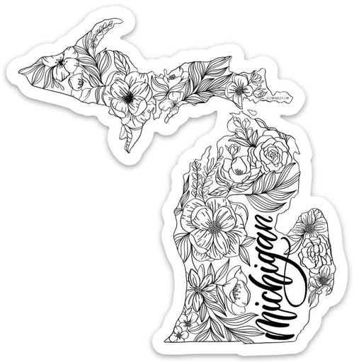 Michigan Outline Sticker - Black & White