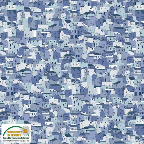 Quilters Coordinates- Houses in Dusty Blue