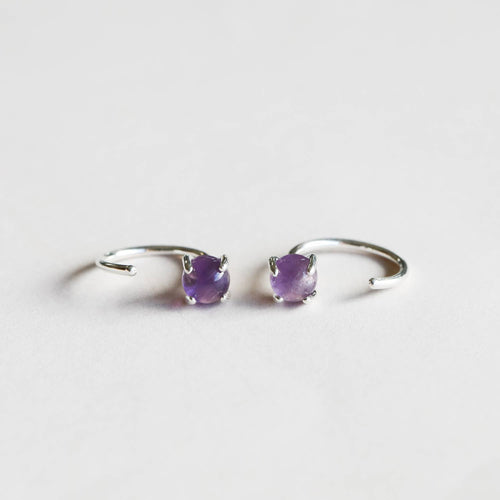 Gemstone Huggie Earrings- Silver