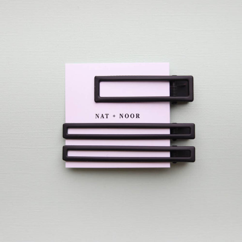 Hair Clip Trio- Yarrow in Black