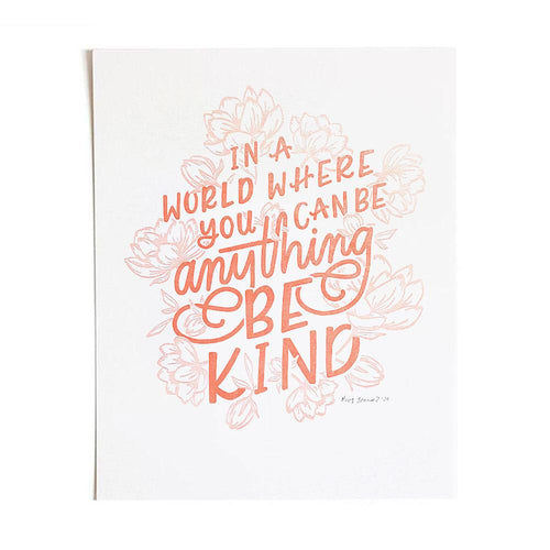 Be Kind Letterpress Art Print
