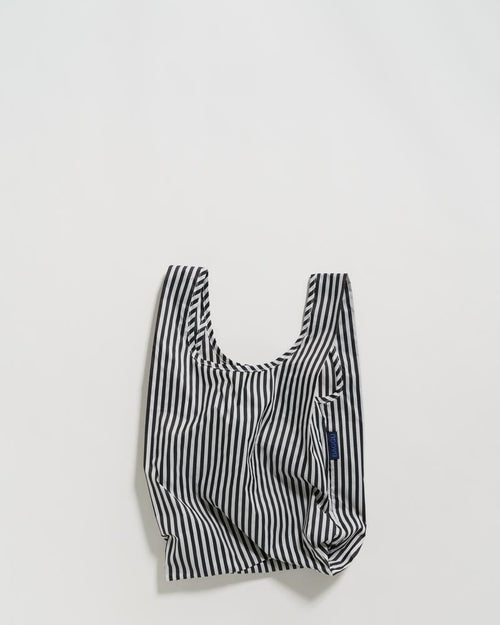 BAGGU Reusable Bag - Baby Size in Black and White Stripe