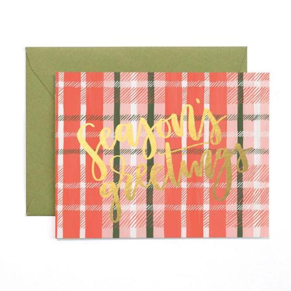 Seasons Greetings Plaid Card - Boxed Set of 8
