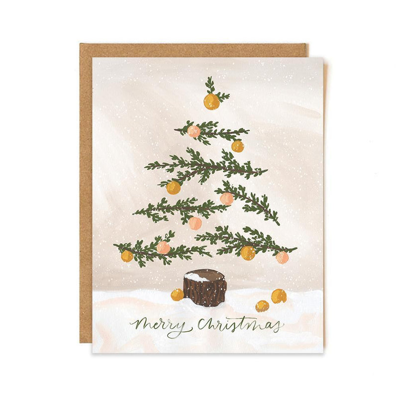 Christmas Tree Card- Tan