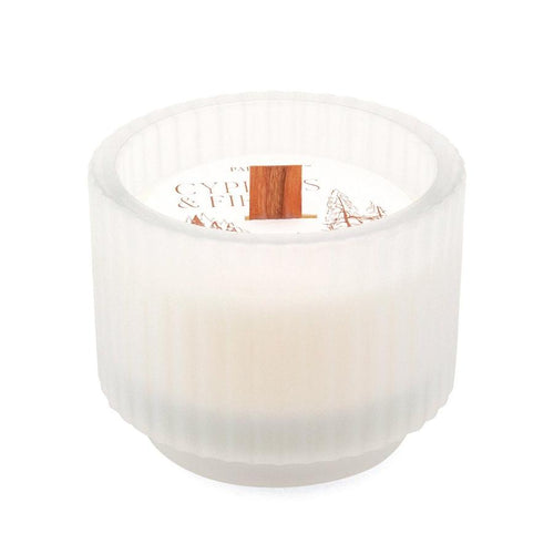 Frosted White Ribbed Glass Candle- Cypress & Fir