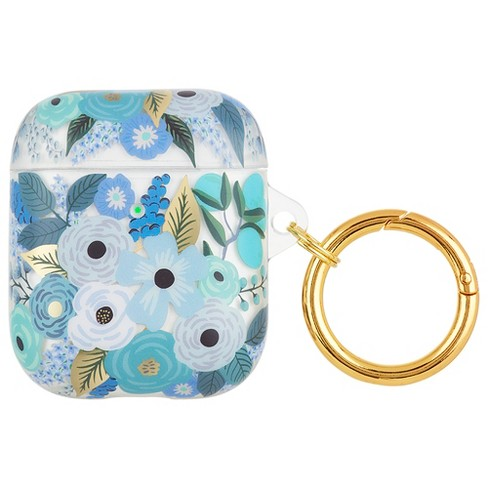 Clear Garden Party Blue AirPod Case