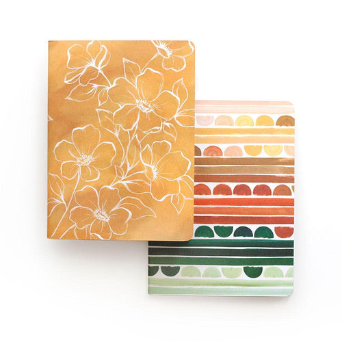 Golden Poppy Slim Notebook- Set of 2