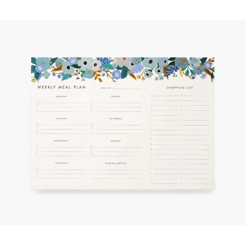 Garden Party Blue-Weekly Meal Planner Notepad