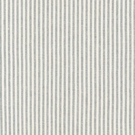Essex Yarn Dyed Classic Woven Linen - Small Stripe in Steel