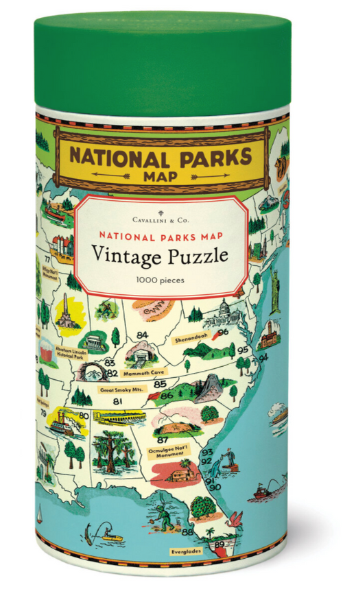 National Parks Map Vintage Puzzle- 1000 pieces
