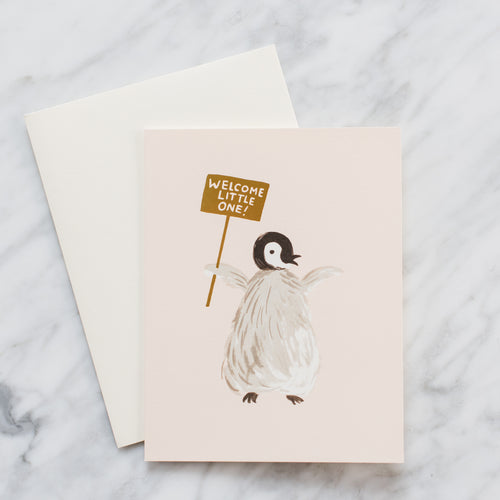 Welcome Penguin Baby Card