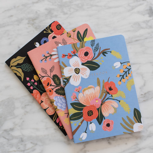 Lively Floral Stitched Notebooks - Set of 3