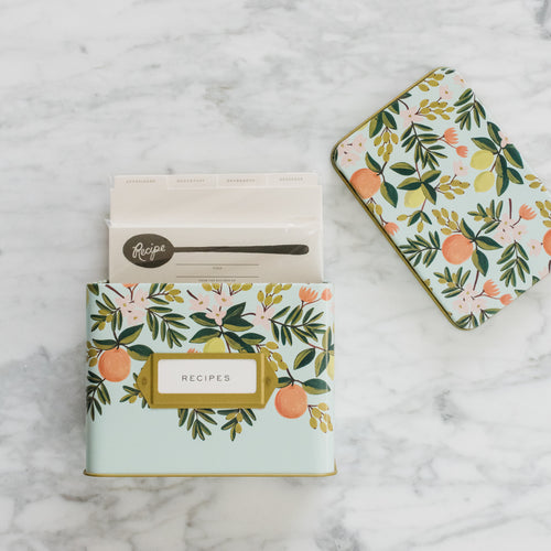 Citrus Floral Tin Recipe Box Set