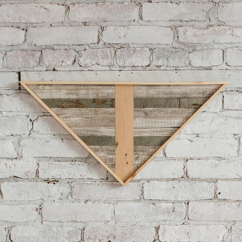 Reclaimed Wood Wall Art - Small Triangle - Gray